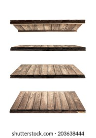 collection of wooden shelves on an isolated white background