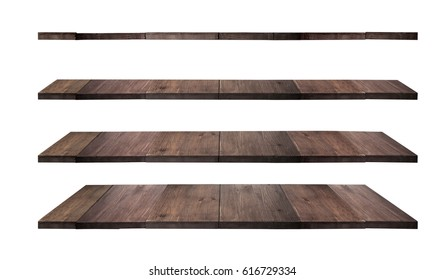 collection of wooden shelves on an isolated white background,