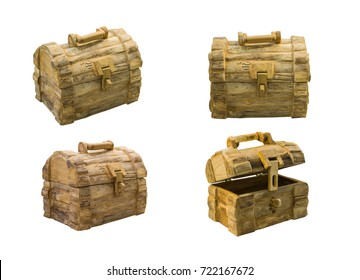 collection wooden treasure chest Isolated on white background.