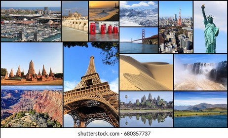 Collection of world travel destinations - photo collage with Paris, New York, Grand Canyon, Tokyo, London, California, Spain and New Zealand.