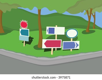 * Collection of yard signs