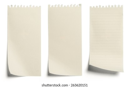 collection of yellow note papers on white background