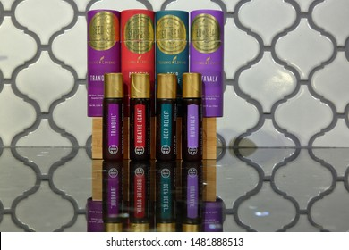 A collection of Young Living Essential Oils which are good as travel companions - San Antonio, Texas, USA -  August 17, 2019