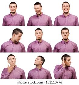Collection of young man face expressions isolated on white background
