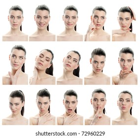 collection of young woman facial expressions, full resolution single images avaliable separatly in my gallery