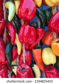 Collections of colorful hanging peppers