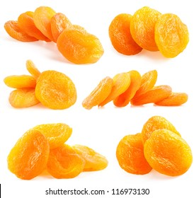 Collections of Dried apricots isolated on white background