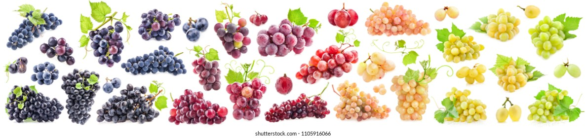 Collections of Ripe grapes with leaves isolated on white