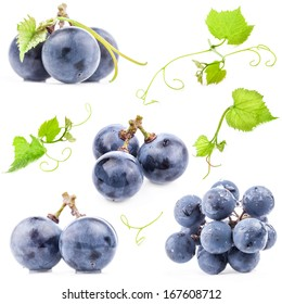 Collections of Ripe grapes with leaves, Isolated on white background