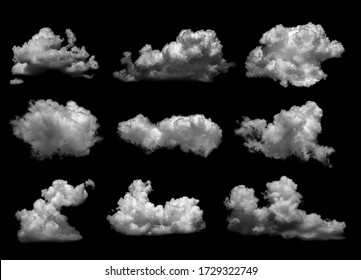 Collections of separate white clouds on a black background have real clouds. White cloud isolated on a black background realistic cloud. white fluffy cumulus cloud isolated cutout on black background - Shutterstock ID 1729322749
