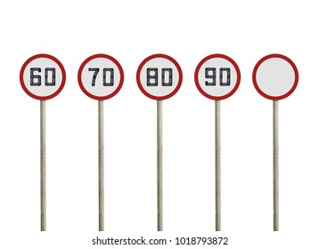 Collections speed limit road signs isolated on white background. Objects clipping path