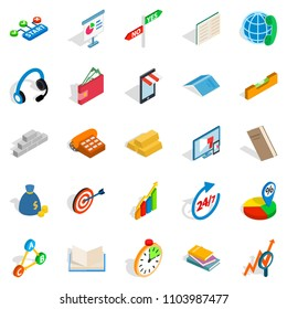 Collective icons set. Isometric set of 25 collective icons for web isolated on white background