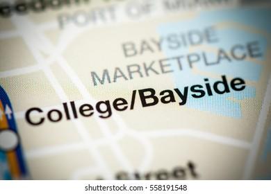 College Bayside Station. Miami Metro map.