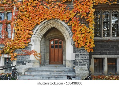 College door with fall ivy