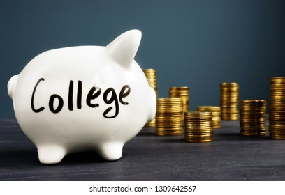 College fund. Piggy bank with coins. Money for education.