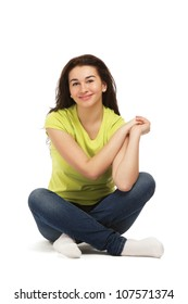 A college girl sitting on the floor,isolated on white background