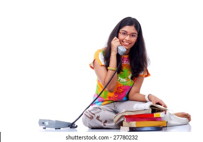 college girl talking on telephone