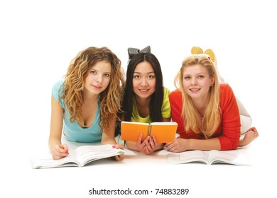 College girls studying