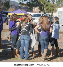 College girls tailgating before a football game between ECU and Tulane. Taken 11/22/2014 in Greenville NC.
