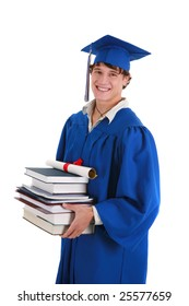 College Graduate Student Holding Books on Isolated Background