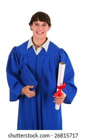 College Graduate Student Holding Certificate on Isolated Background