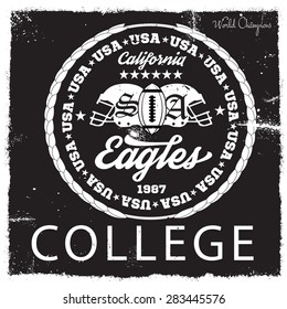 College Graphics and typography t-shirt design for apparel