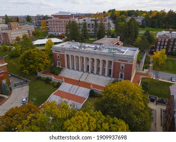 College of the Holy Cross Dinand Library aerial view in fall in 1 College Street in city of Worcester, Massachusetts MA, USA.