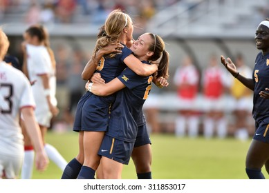 COLLEGE PARK, MD - AUGUST 28: West Virginia Kailey Utley (16) celebrates a first half goal during the NCAA women's soccer game August 28, 2015 in College Park, MD.