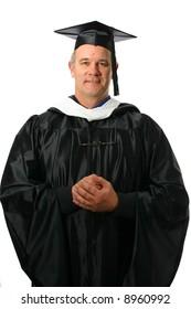 College professor wearing regalia