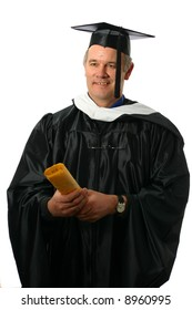 College professor wearing regalia and holding out diploma