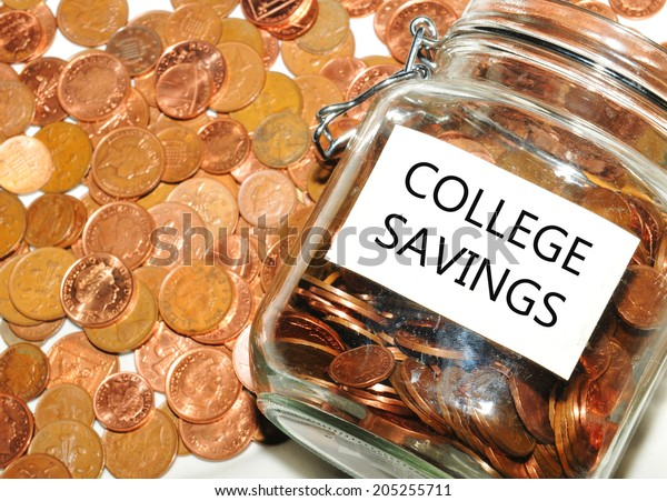 College savings concept with jar of money