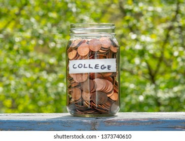 College Savings with Label and Penny Jar