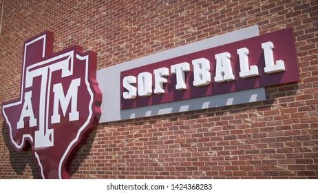 College Station, Texas - June 12 2019: Texas A&M softball sign
