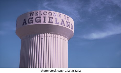 "College Station, Texas - June 12 2019: Texas A&M Water Tower ""Welcome to Aggieland"""