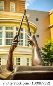 College Station, Texas, USA - 01 September 2019: Muster sculpture in Academic Plaza on campus of Texas A&M University