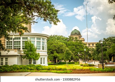 College Station, Texas, USA - 01 September 2019: Texas A&M University campus view. The Academic Building as background