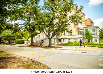 College Station, Texas, USA - 01 September 2019: Texas A&M University campus view, with blue sky on a sunny day