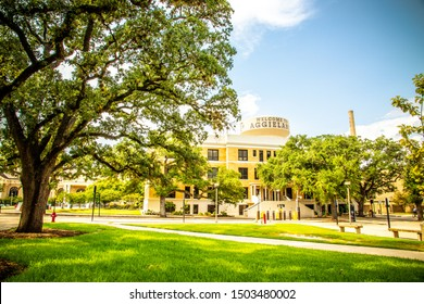 College Station, Texas, USA - 01 September 2019: Welcome To Aggieland. The iconic water tower on the campus of Texas A&M University