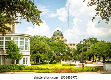 College Station, Texas, USA - 01 September 2019: Texas A&M University campus view, the Academic Building as background