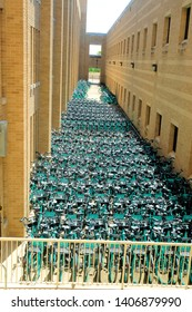 College Station, Texas / USA - April 12 2019: Hundreds of rental bicycles stored for distribution at Texas A&M University in College Station, Texas, USA