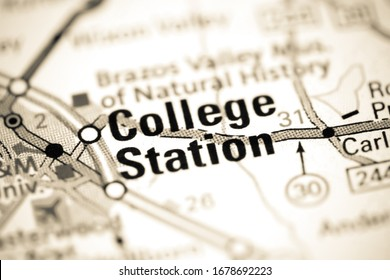 College Station. Texas. USA on a map