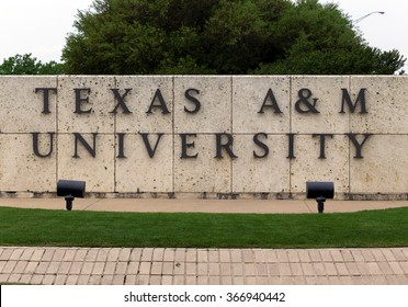 COLLEGE STATION, TX - APRIL 3: An entrance to Texas A&M University in College Station, Texas on April 3rd, 2015. Texas A&M University is a public research university located in College Station, Texas.