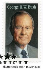 COLLEGE STATION, USA - JUNE 12, 2019: A stamp printed in USA shows Portrait of George Walker Bush, 43rd president of the United States, series Presidents of USA, 2019