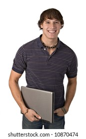 College Student Holding Laptop on Isolated Background