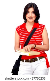 college student holding text book and hanging bag