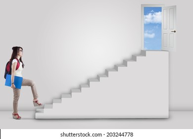College student stepping up on stairs to the success door