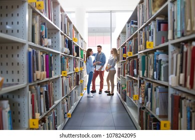 College students in a library