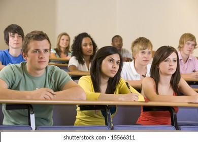 College students listening to a university lecture