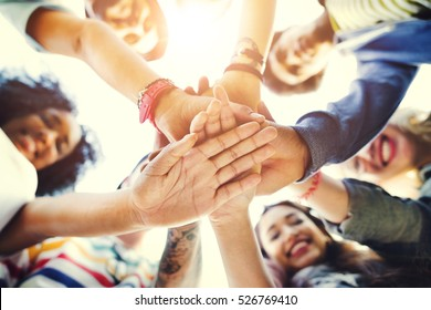 College Students Teamwork Stacking Hand Concept - Shutterstock ID 526769410