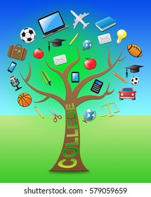 College Tree With Icons Shows Study And Studying 3d Illustration